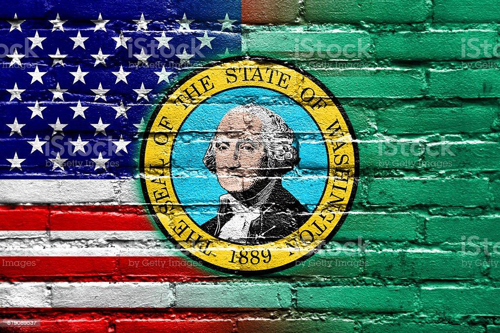 USA and Washington State Flag painted on brick wall vector art illustration