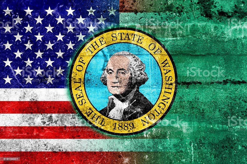 USA and Washington State Flag painted on grunge wall vector art illustration