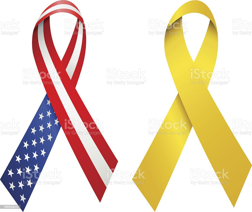 USA and Yellow Awareness Ribbons vector art illustration