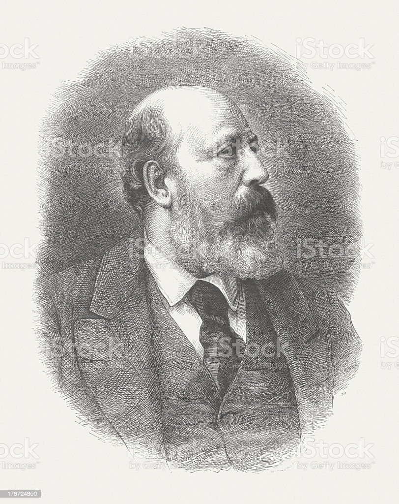 Andreas Achenbach (1815-1910), German painter, wood engraving, published in 1882 royalty-free stock vector art