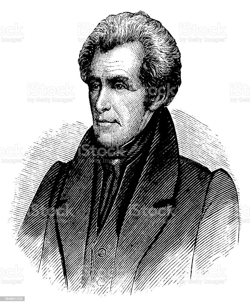 Andrew Jackson - Antique Engraved Portrait royalty-free stock vector art