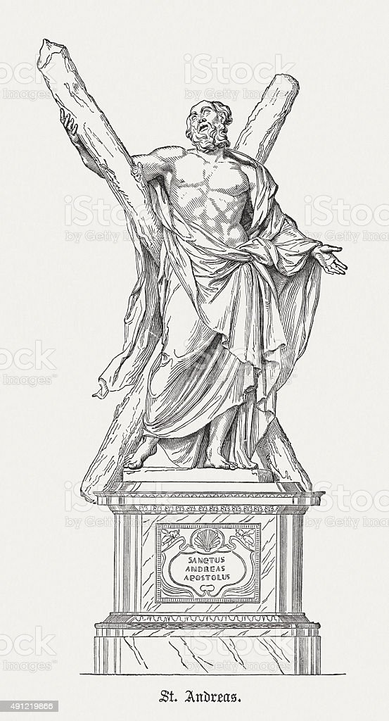 Andrew the Apostle, published in 1878 vector art illustration