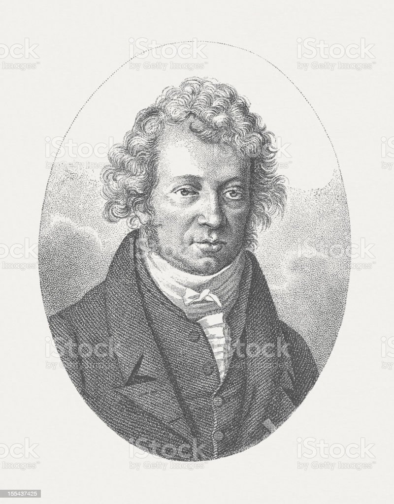 André-Marie Ampère (1775-1836) French physicist, engraving, published in 1882 vector art illustration