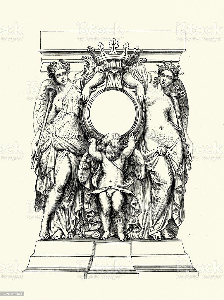 Angel and Cupid Statue vector art illustration