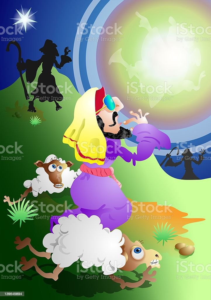 Angel and Shepherds royalty-free stock vector art