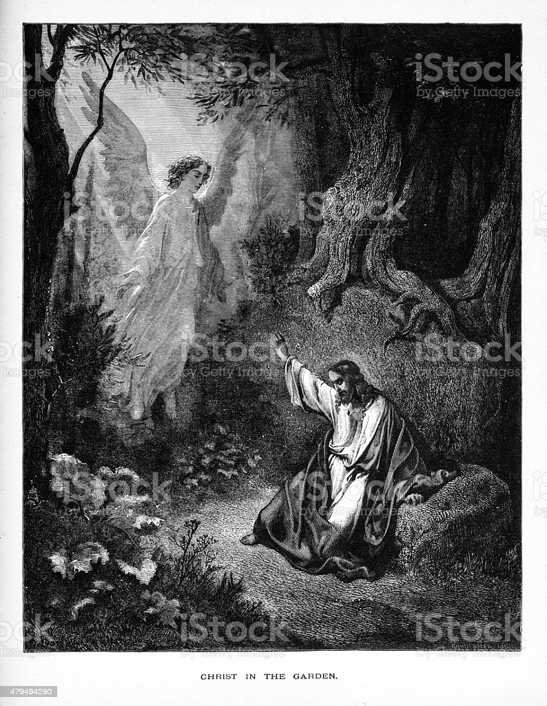 Angel Appearing Before Christ in the Garden Biblical Engraving vector art illustration