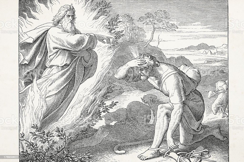 Angel coming out of burning bush speaking to Moses vector art illustration