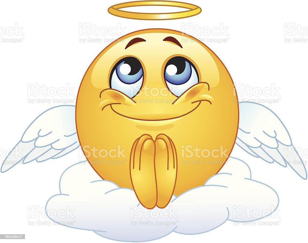 Angel emoticon vector art illustration