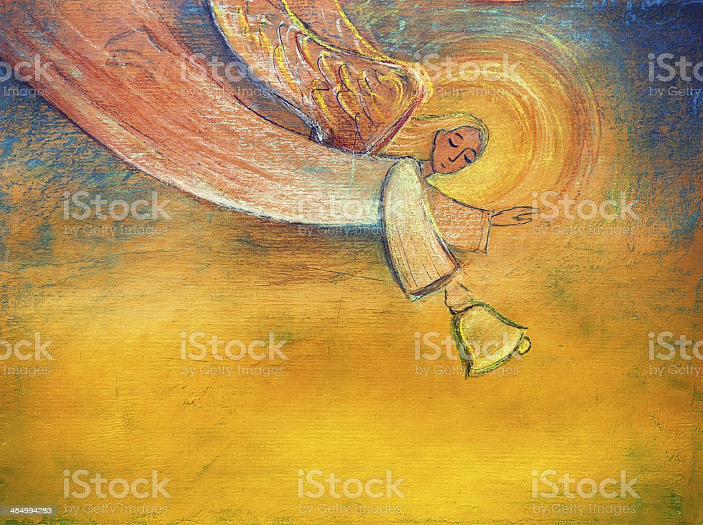 Angel holding bell vector art illustration