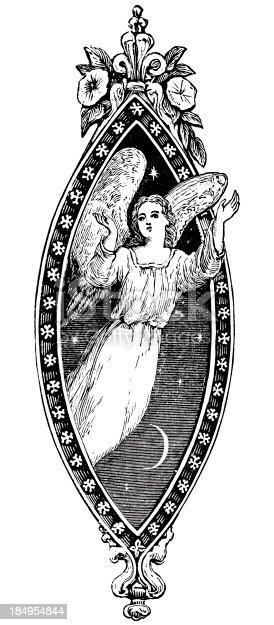 Angel In Carved Motif Victorian Steel Engraving stock vector art ...