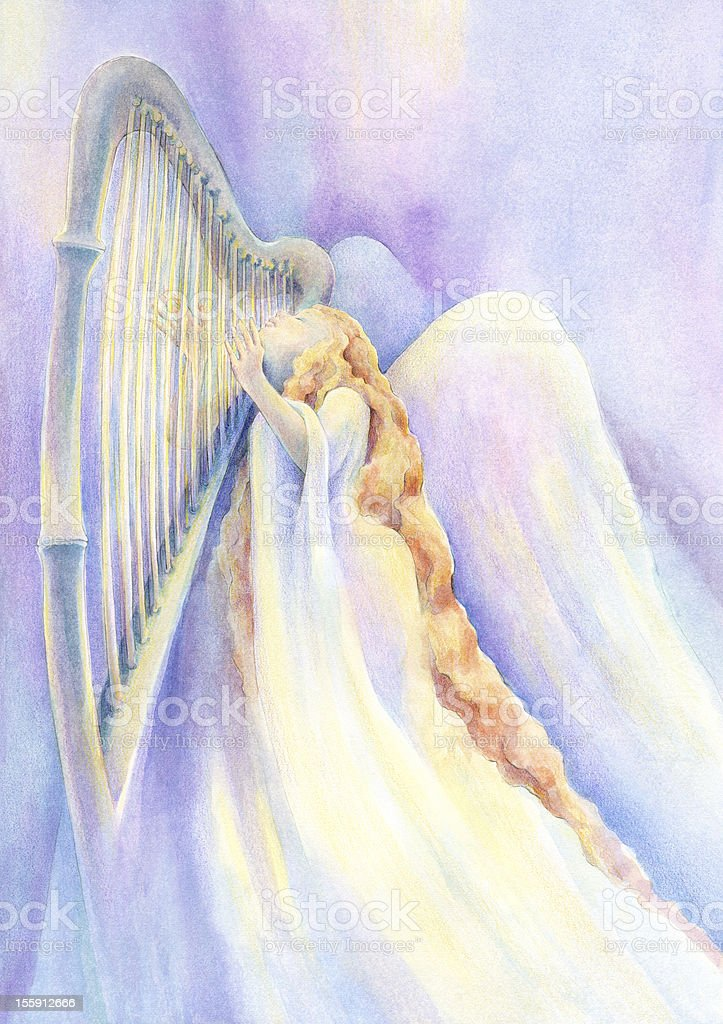 Angel In Rapture Playing Heavenly Music On The Harp royalty-free stock vector art