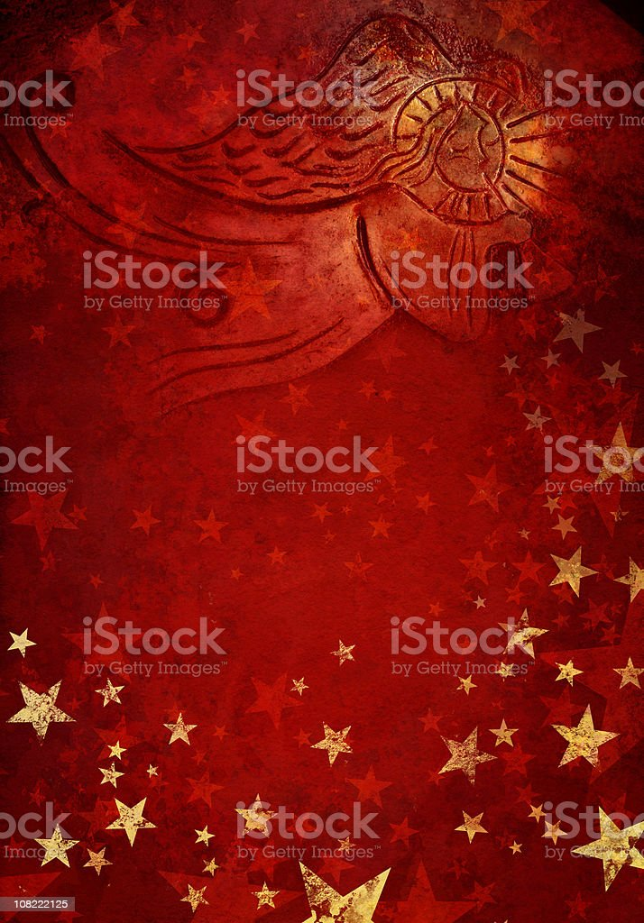 angel in red starry background vector art illustration