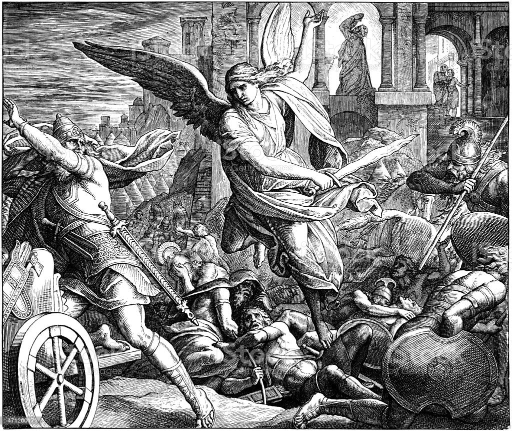 Angel of Lord Slays Assyrian Army vector art illustration