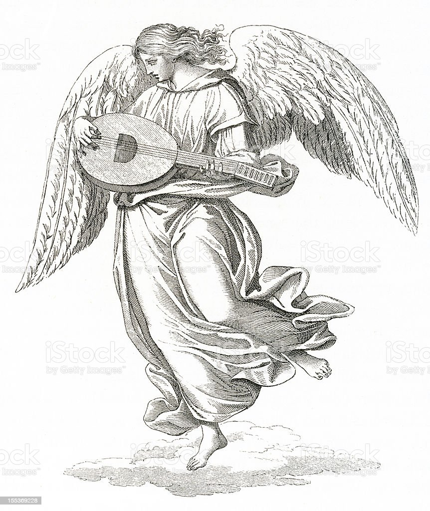angel with lute, musical inspiration vector art illustration