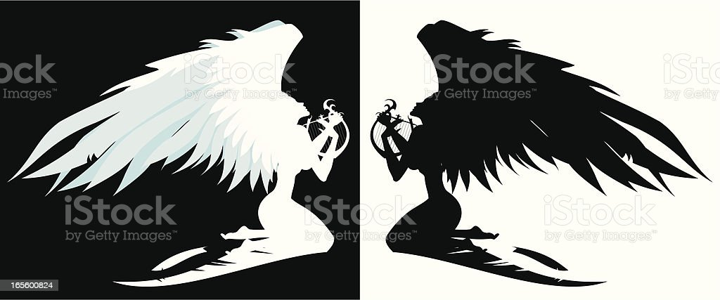 Angel with lyre royalty-free stock vector art