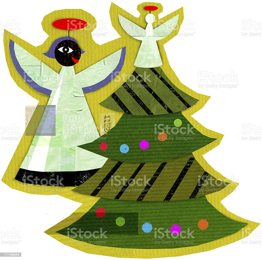 Angels and a Christmas Tree royalty-free stock vector art