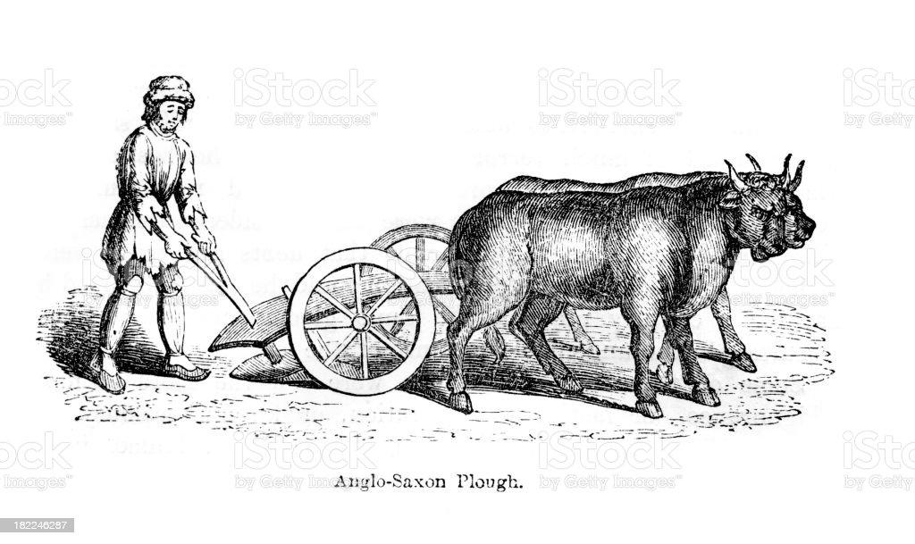 Anglo Saxon Plough royalty-free stock vector art