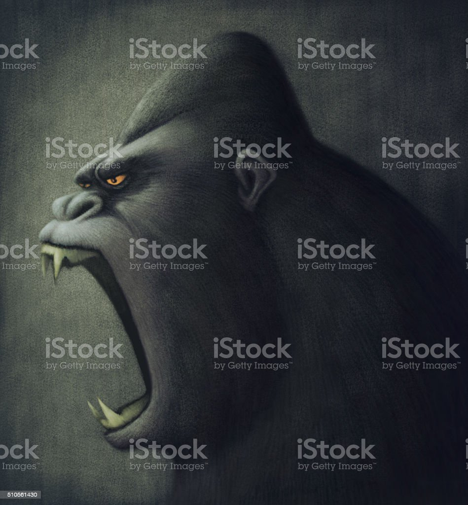 angry ape vector art illustration