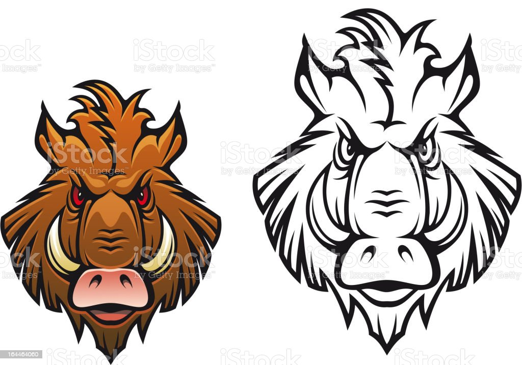 Angry boar mascot royalty-free stock vector art