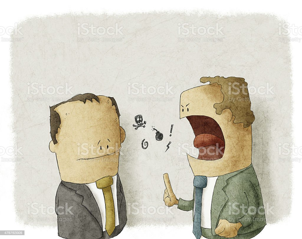 Angry boss with employee vector art illustration
