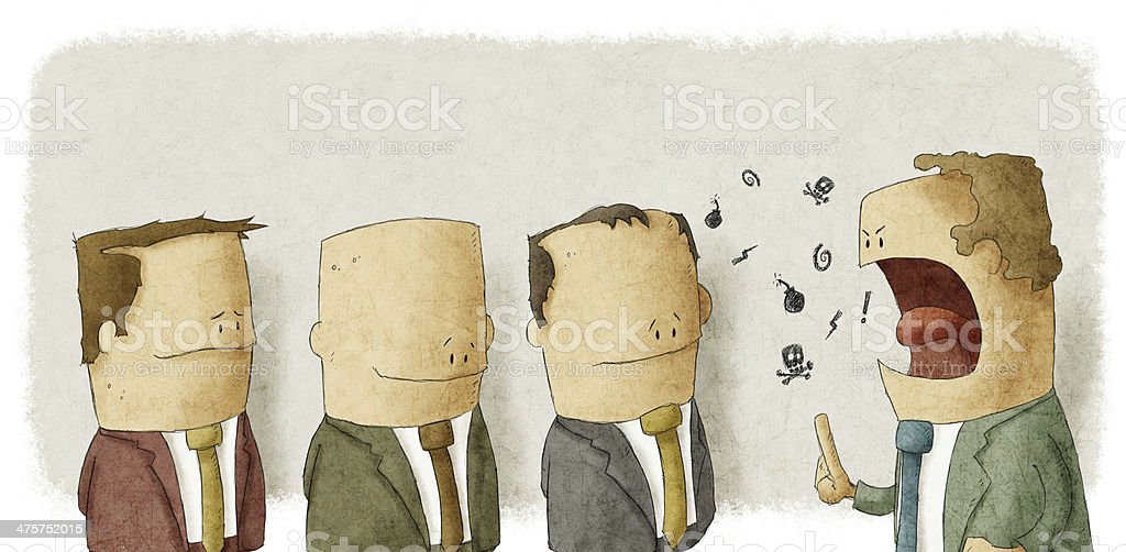Angry boss with employees vector art illustration