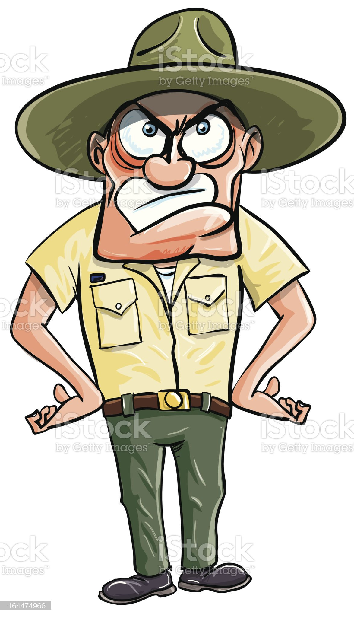Angry cartoon drill sargent. Isolated on white royalty-free stock vector art