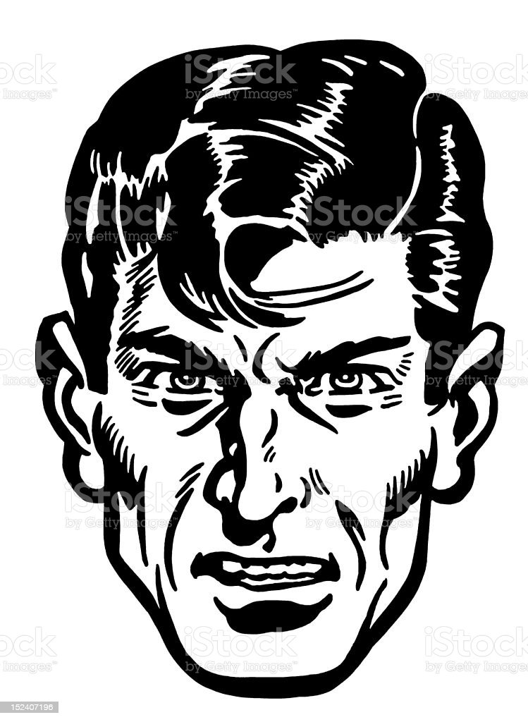 Angry Dark Haired Man royalty-free stock vector art