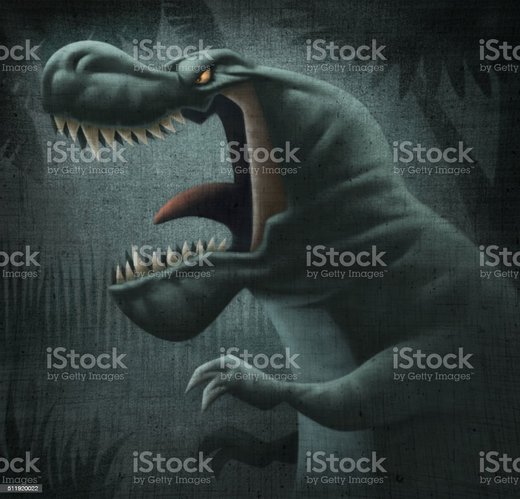 angry dinosaur vector art illustration