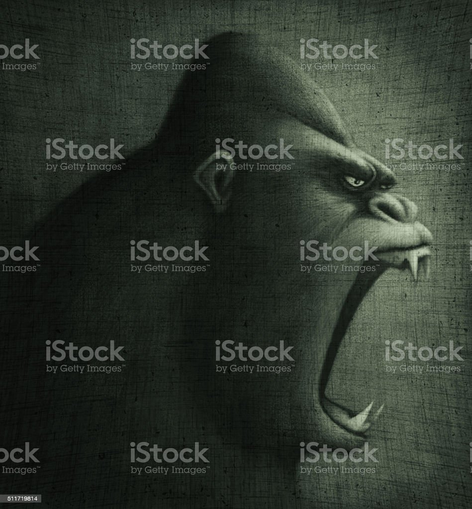 angry gorilla vector art illustration