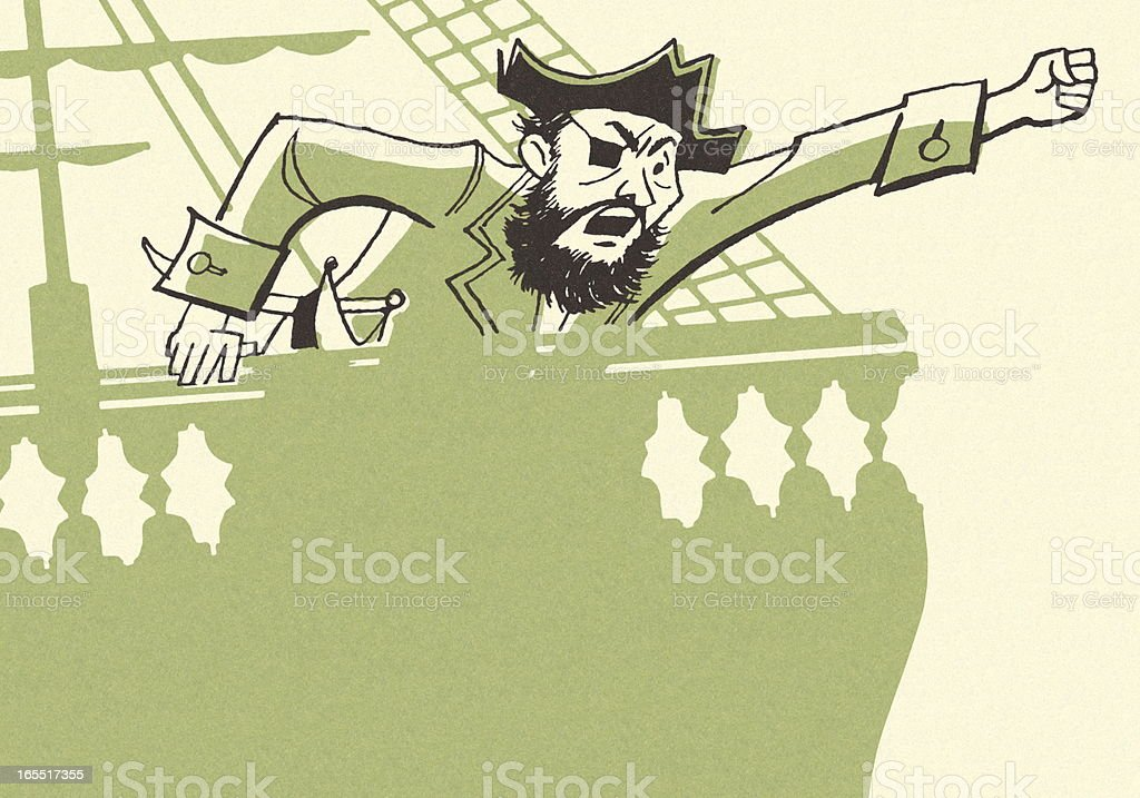 Angry Pirate on a Ship royalty-free stock vector art
