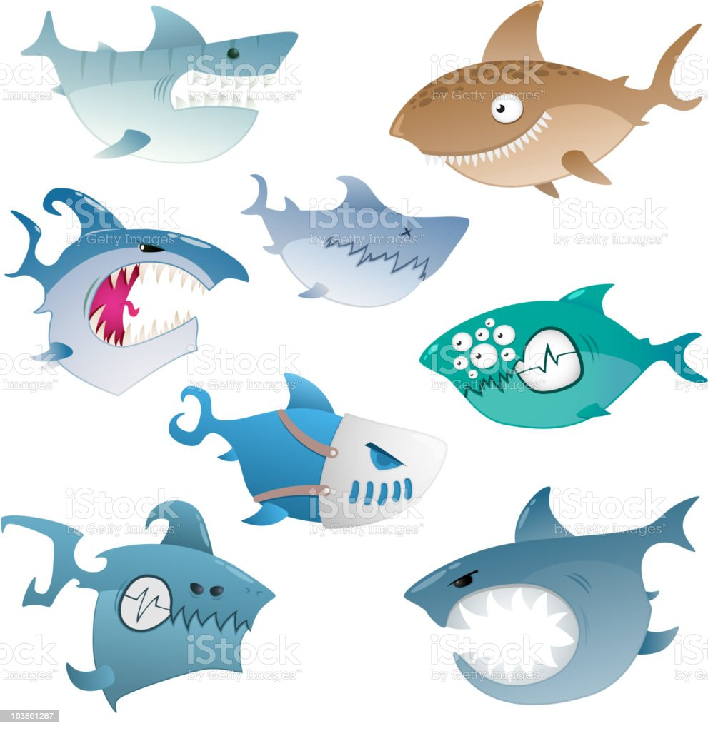 angry sharks royalty-free stock vector art