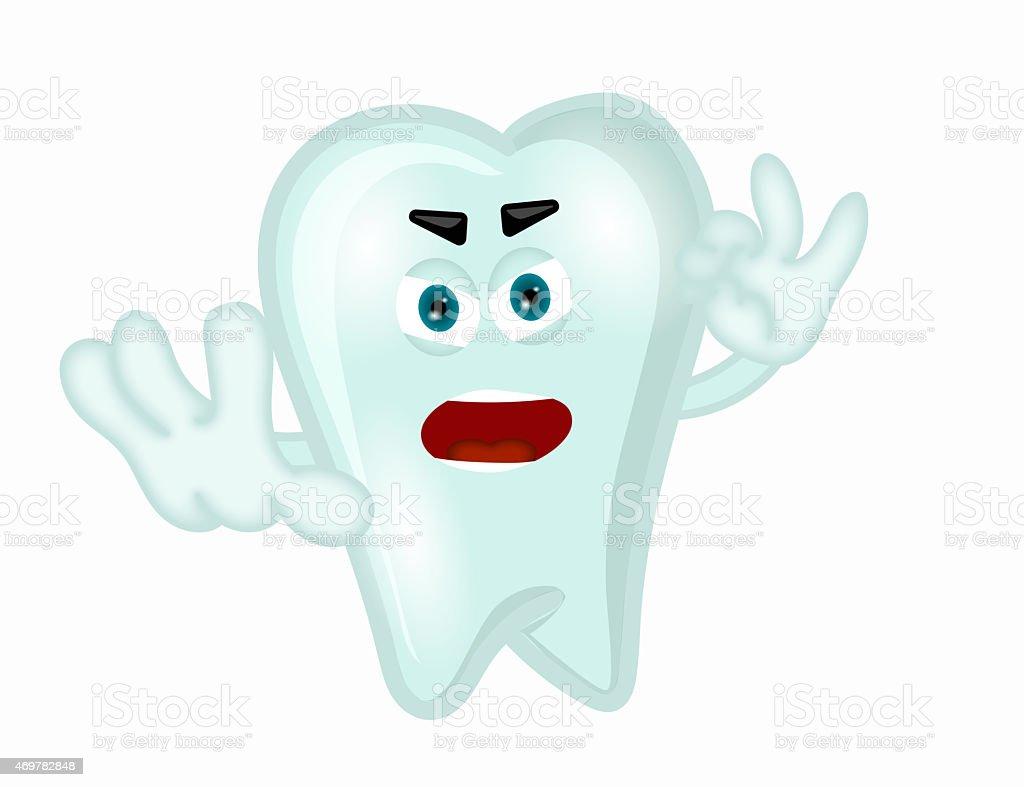 Angry tooth funny cartoon illustration children dientist vector art illustration