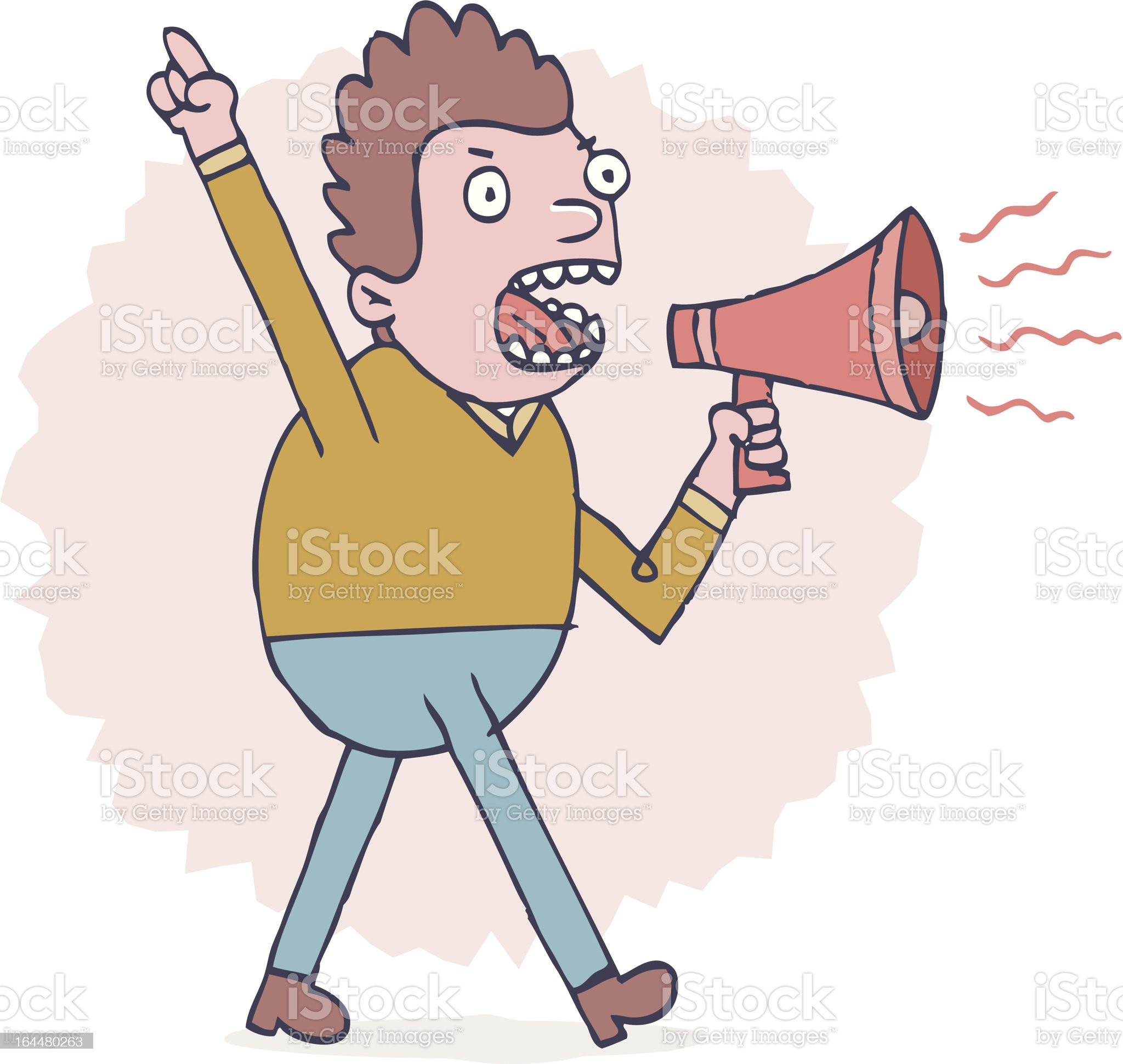 Angry with megaphone royalty-free stock vector art