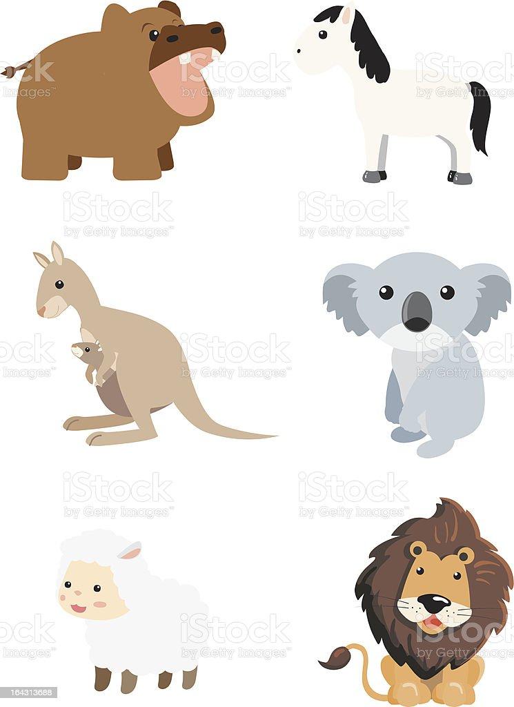 Animal Cartoon Mammal Set 4 vector art illustration
