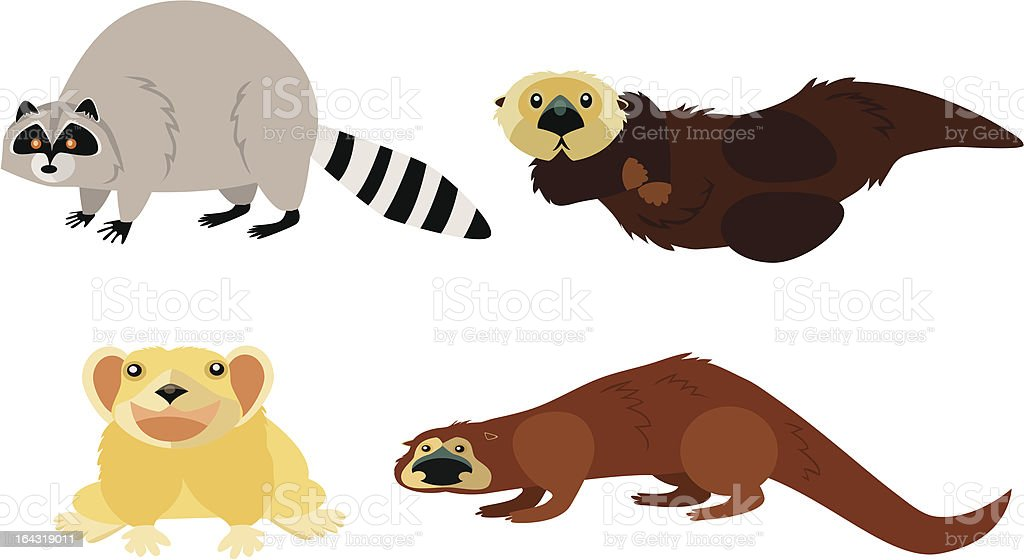 Animal Page: raccoon, pika, otters vector art illustration