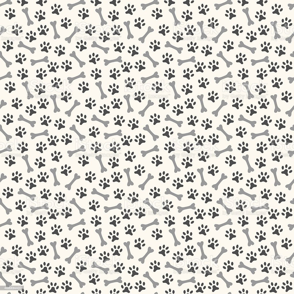 Animal seamless  pattern of paw footprint and bone vector art illustration