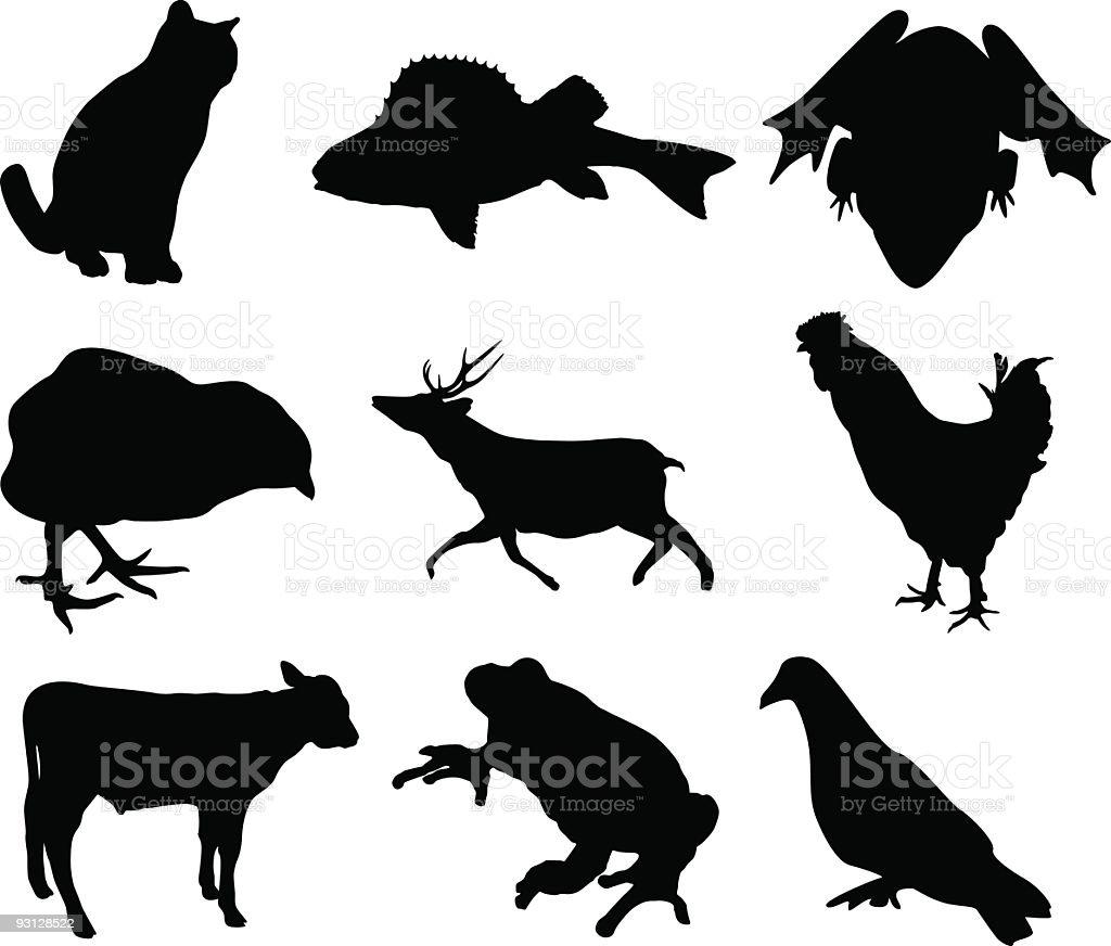 Animal shapes vector art illustration