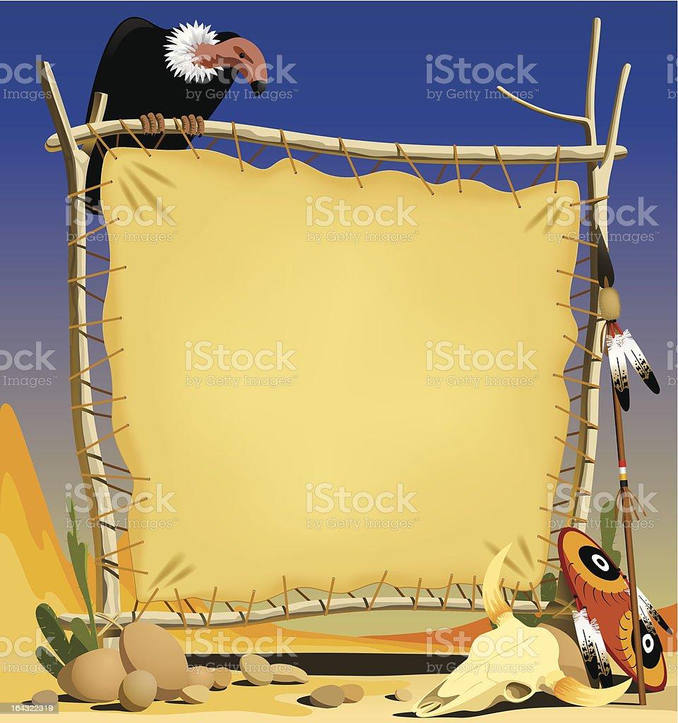 Animal skin banner in a desert royalty-free stock vector art