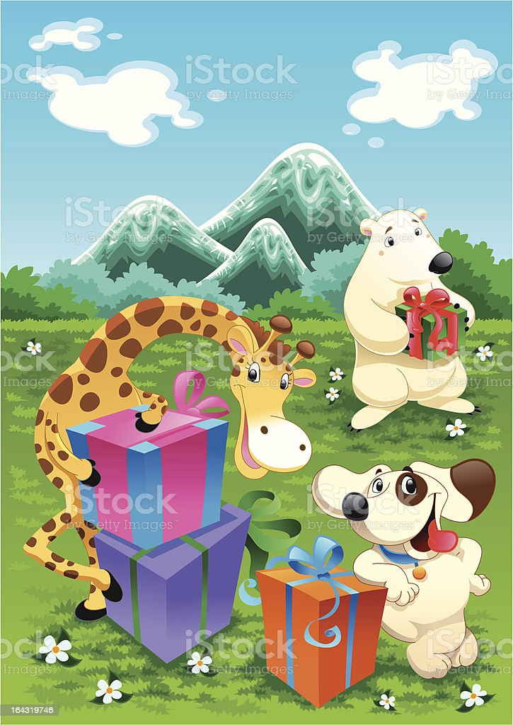 Animals and gifts with background royalty-free stock vector art