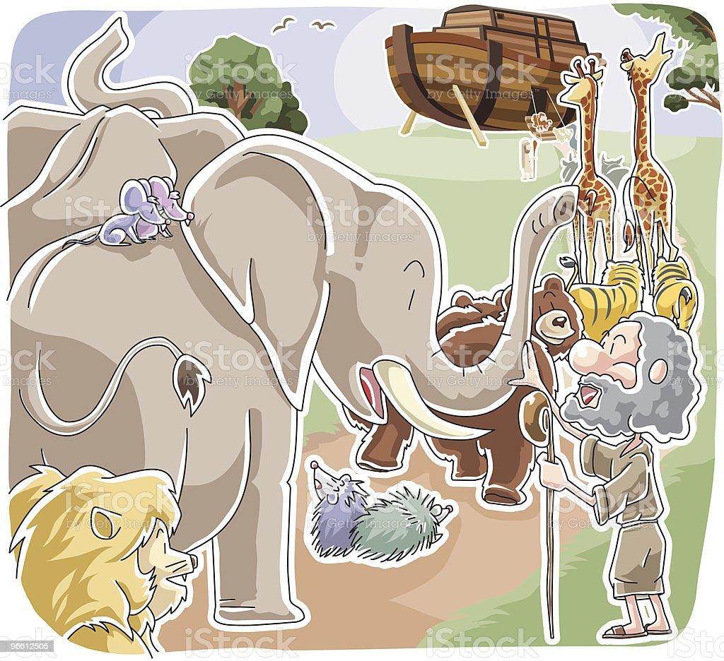 Animals Boarding Noah's Ark royalty-free stock vector art