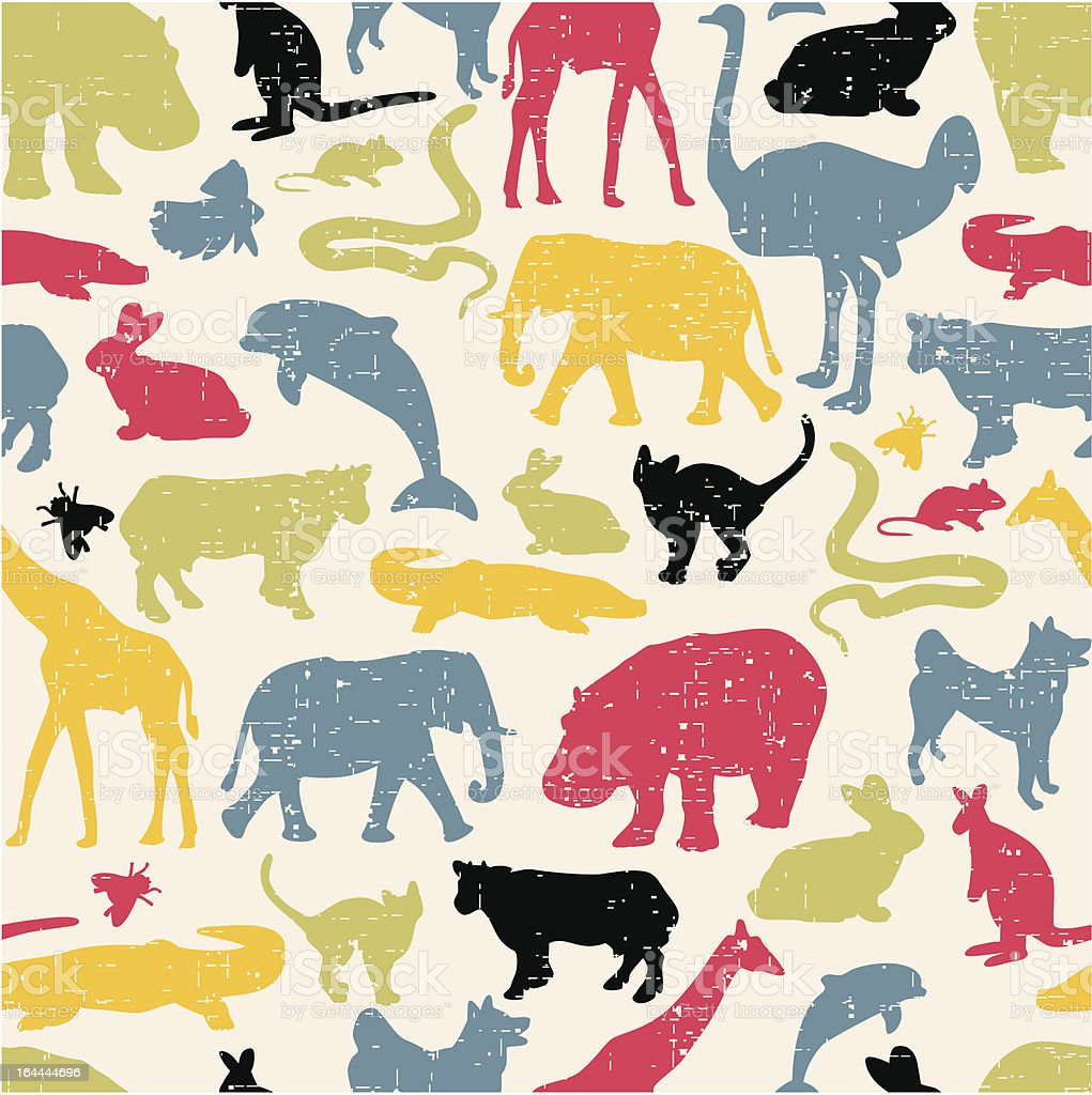Animals silhouette seamless pattern. royalty-free stock vector art