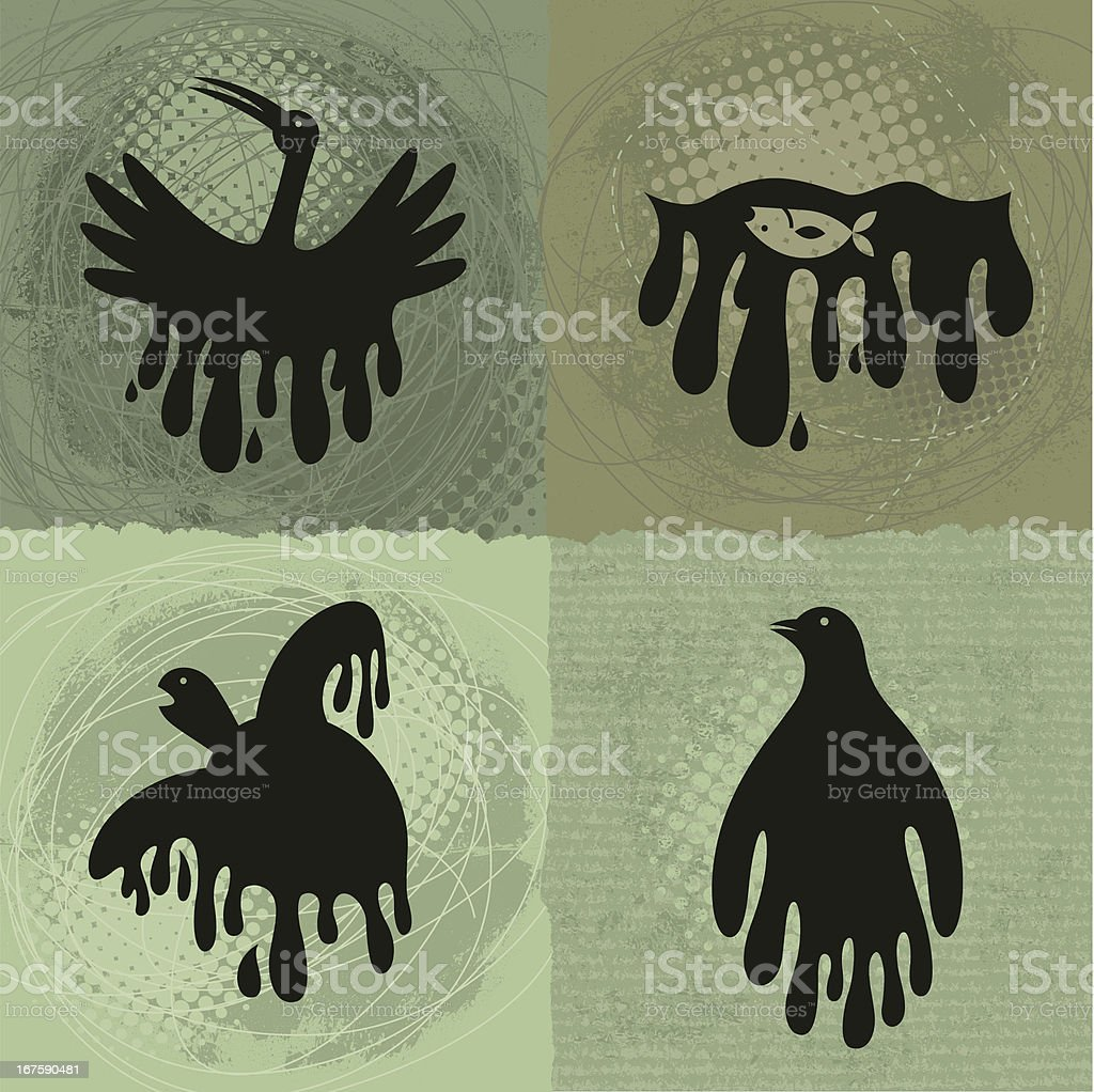 Animals Suffering From Oil Spill royalty-free stock vector art