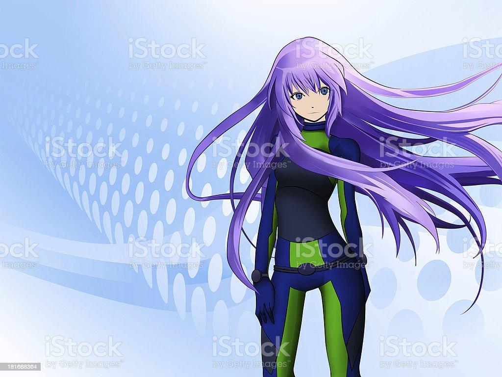 Anime girl with purple hair on blue polka dot background  vector art illustration