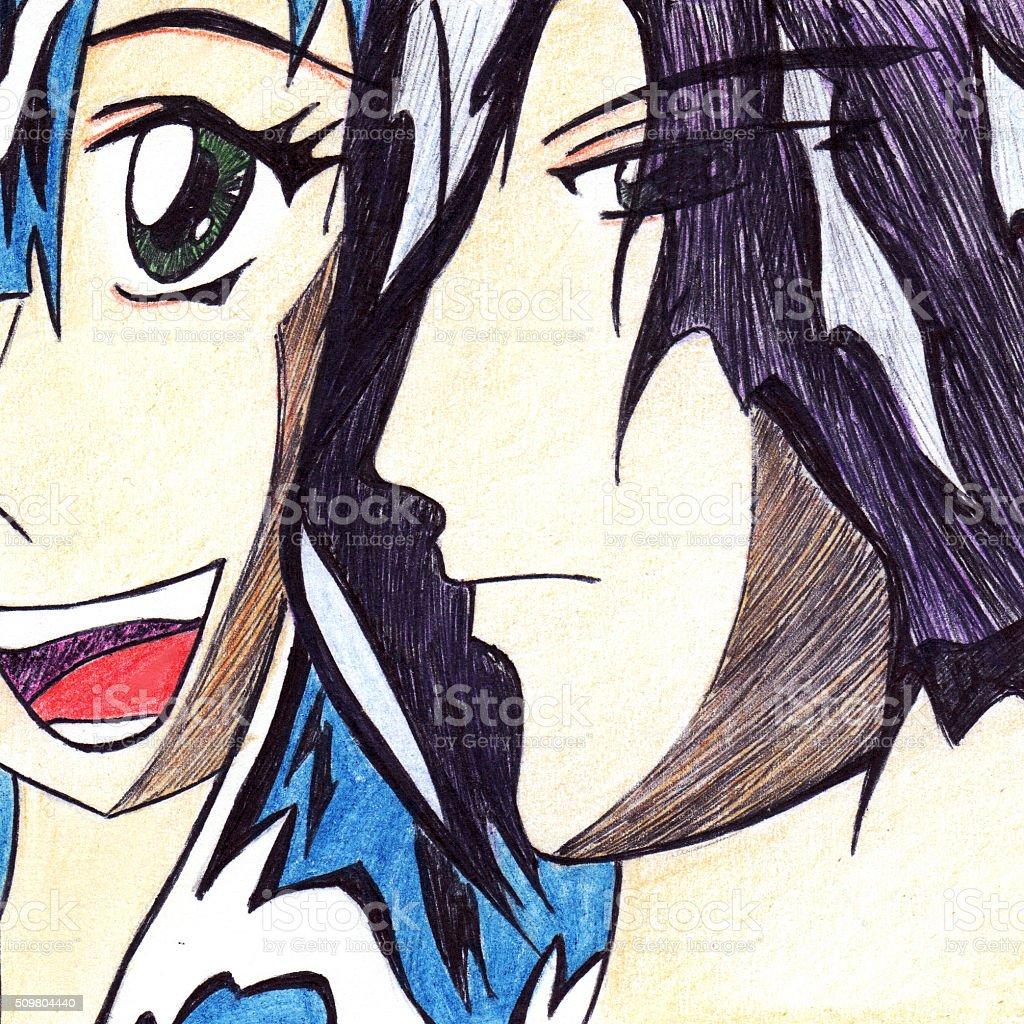 Anime manga cartoon pair boy and smiling girl vector art illustration