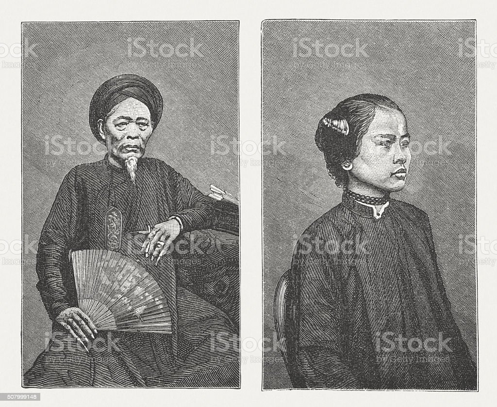 Annamites - Vietnamese ethnicity, wood engraving, published in 1882 vector art illustration