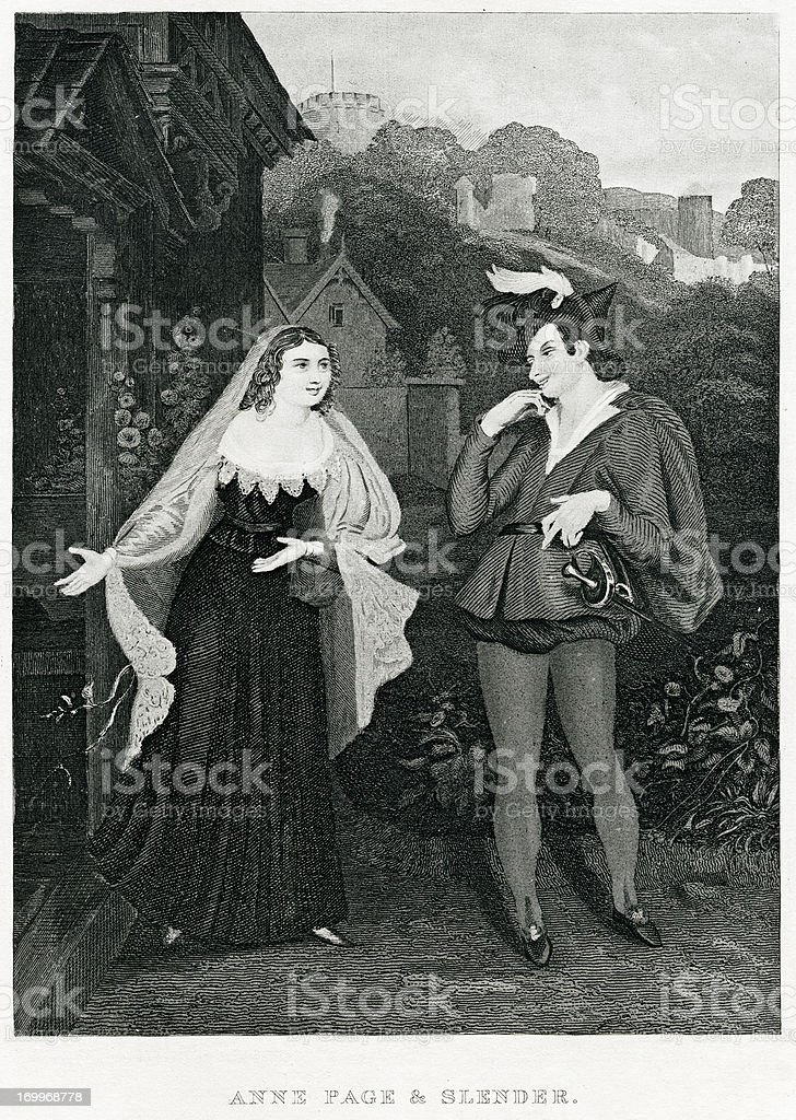 Anne Page And Slender From The Merry Wives Of Windsor royalty-free stock vector art