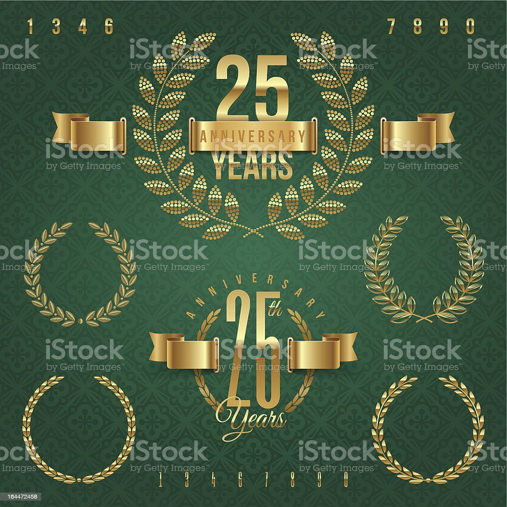 Anniversary golden emblems and decorative elements - vector illustration royalty-free stock vector art