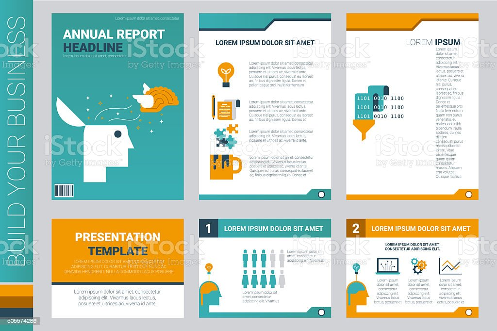 Annual report book cover and presentation template vector art illustration
