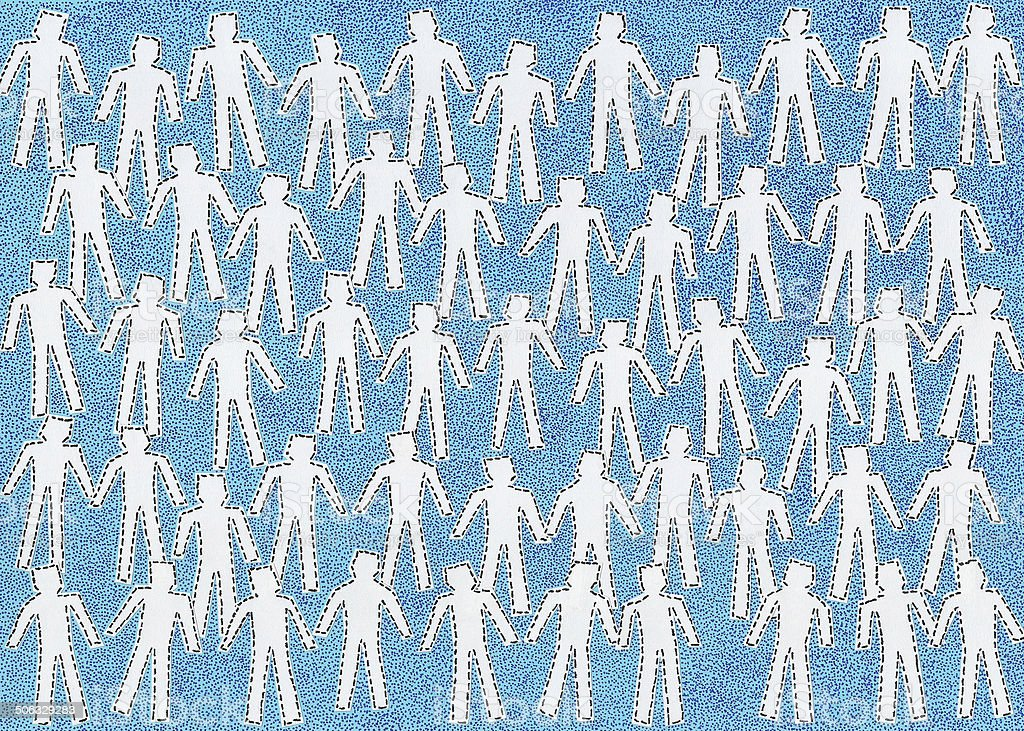 Anonymous white crowd vector art illustration