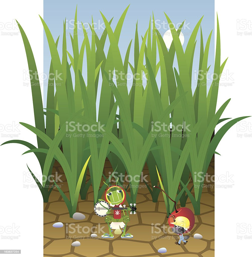 Ant and Grasshopper vector art illustration